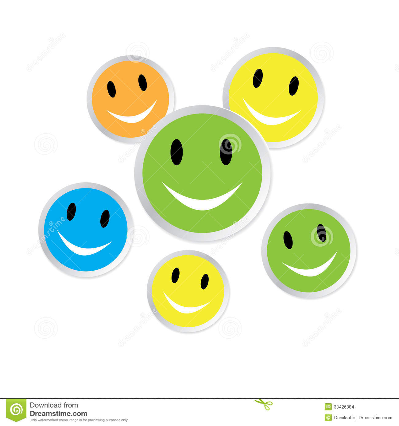 color smiley faces with reflection stock illustration illustration