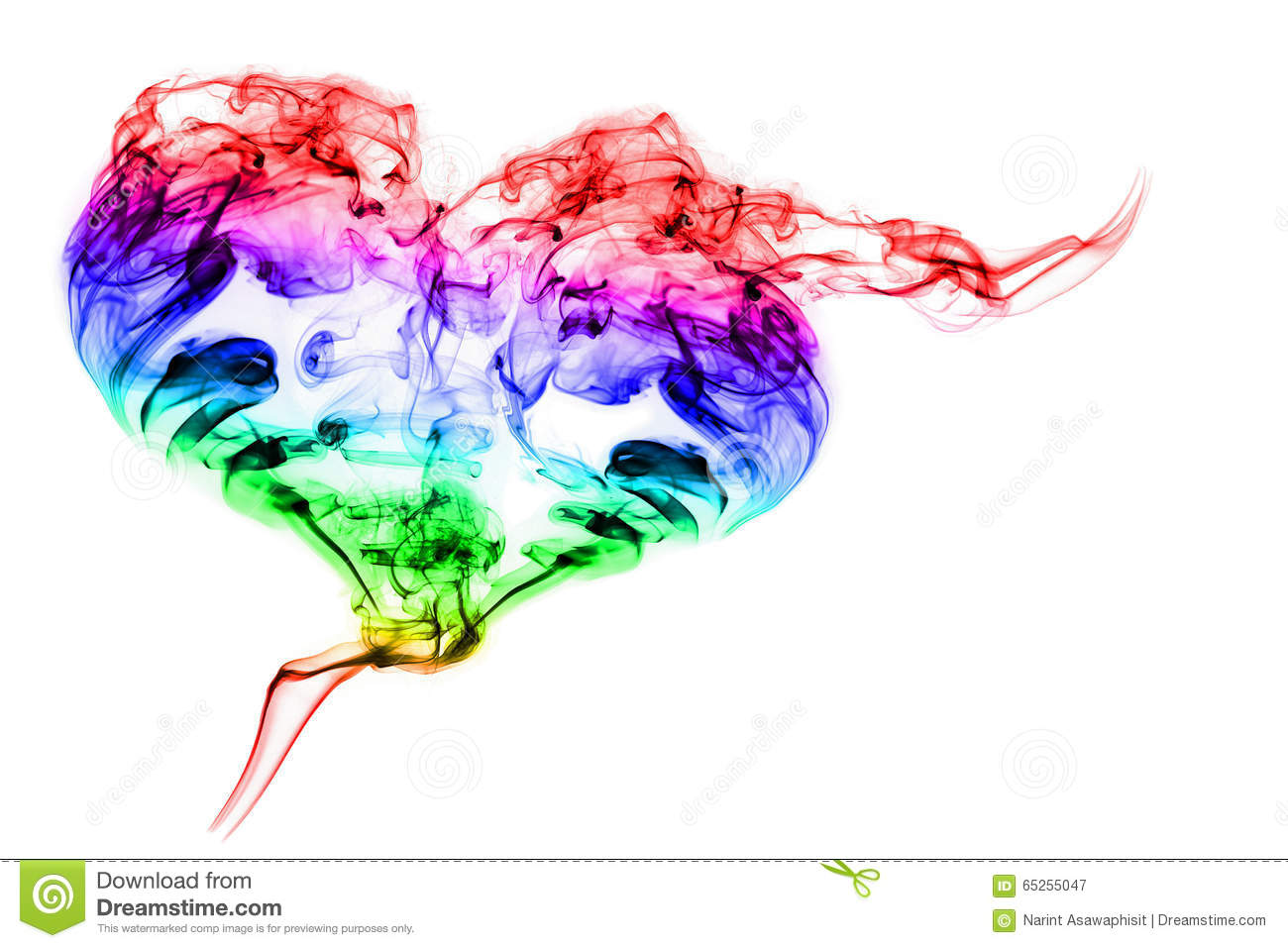 Color Smoke Heart On White Background Stock Photo Image