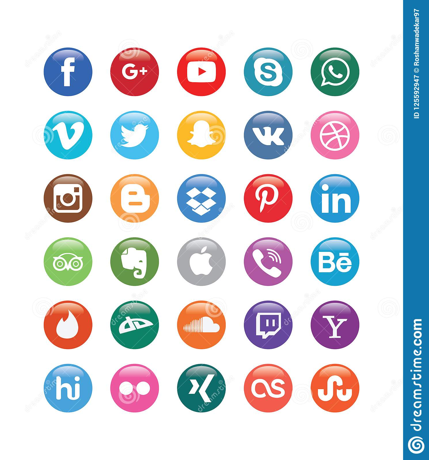Color Social Media Glossy Buttons for Social media