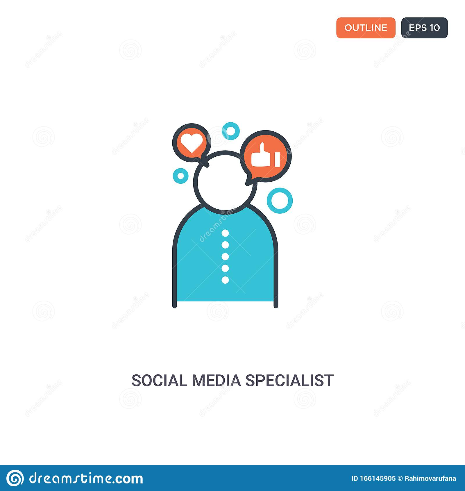 2 Color Social Media Specialist Concept Line Vector Icon Isolated Two Colored Social Media Specialist Outline Icon With Blue And Stock Vector Illustration Of Audience Influencer 166145905
