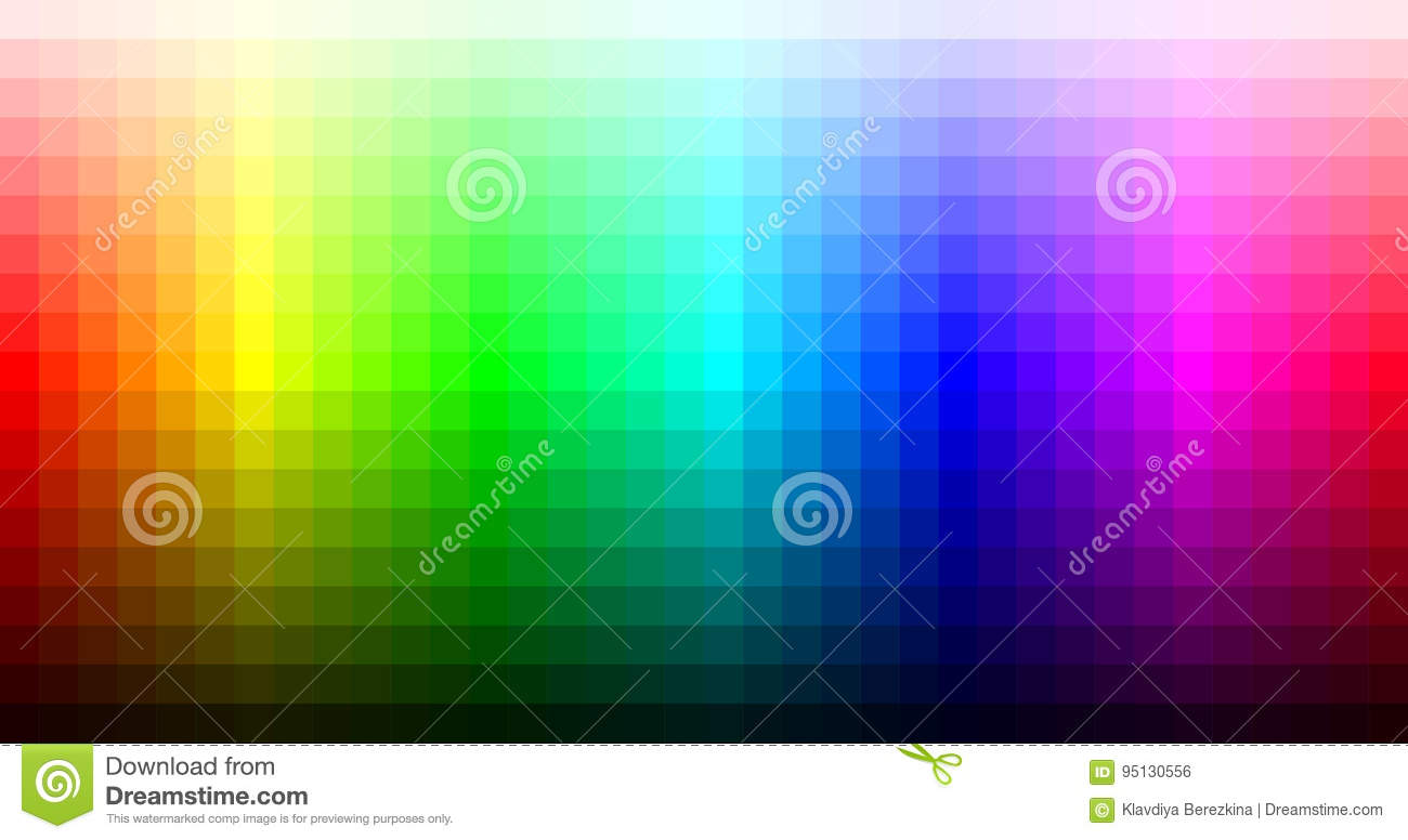 Color Spectrum Mosaic Palette, Hue And Brightness. Vector Stock ...