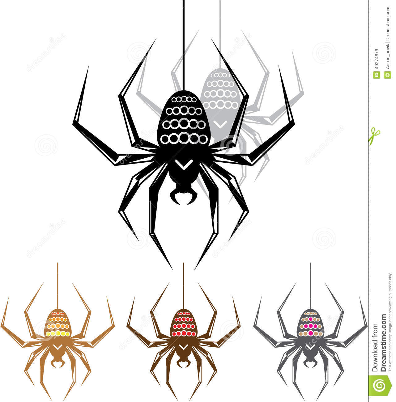 Color Spider Vector Art illustration clip-art vector.