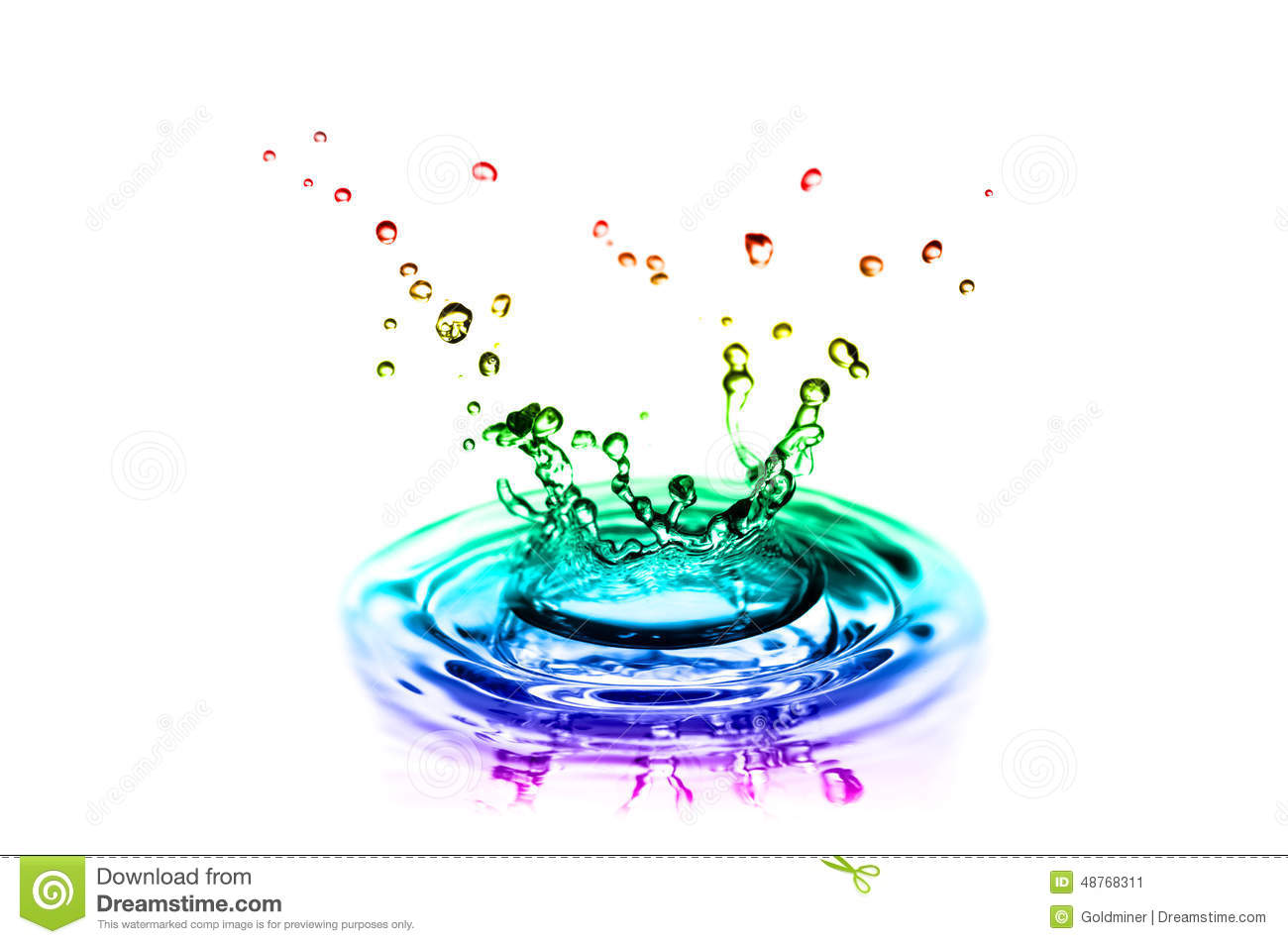 Color splashes of water