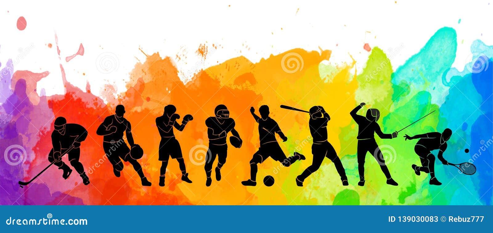 Color Sport Background. Football, Soccer, Basketball
