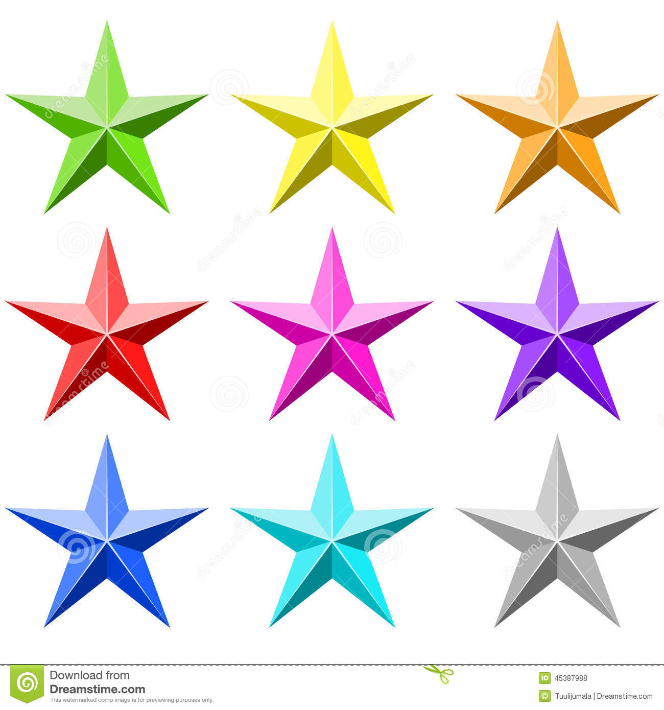 Color Star Vector Set Stock Vector Image 45387988