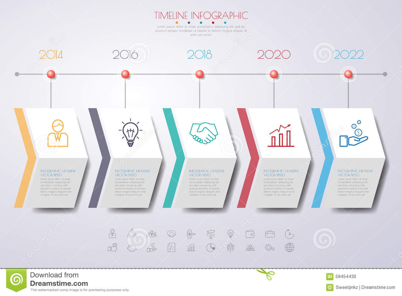 Color Step Design Clean Number Timeline Templategraphic Or Webs - Timeline graphic template