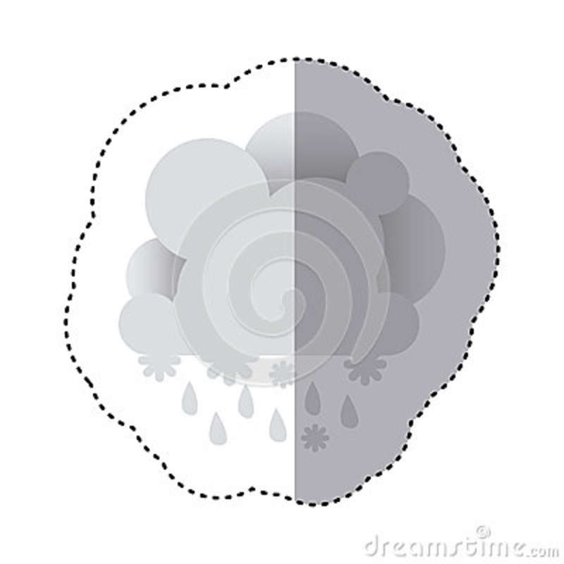 Color Sticker With Cumulus Of Clouds With Rain Stock Illustration