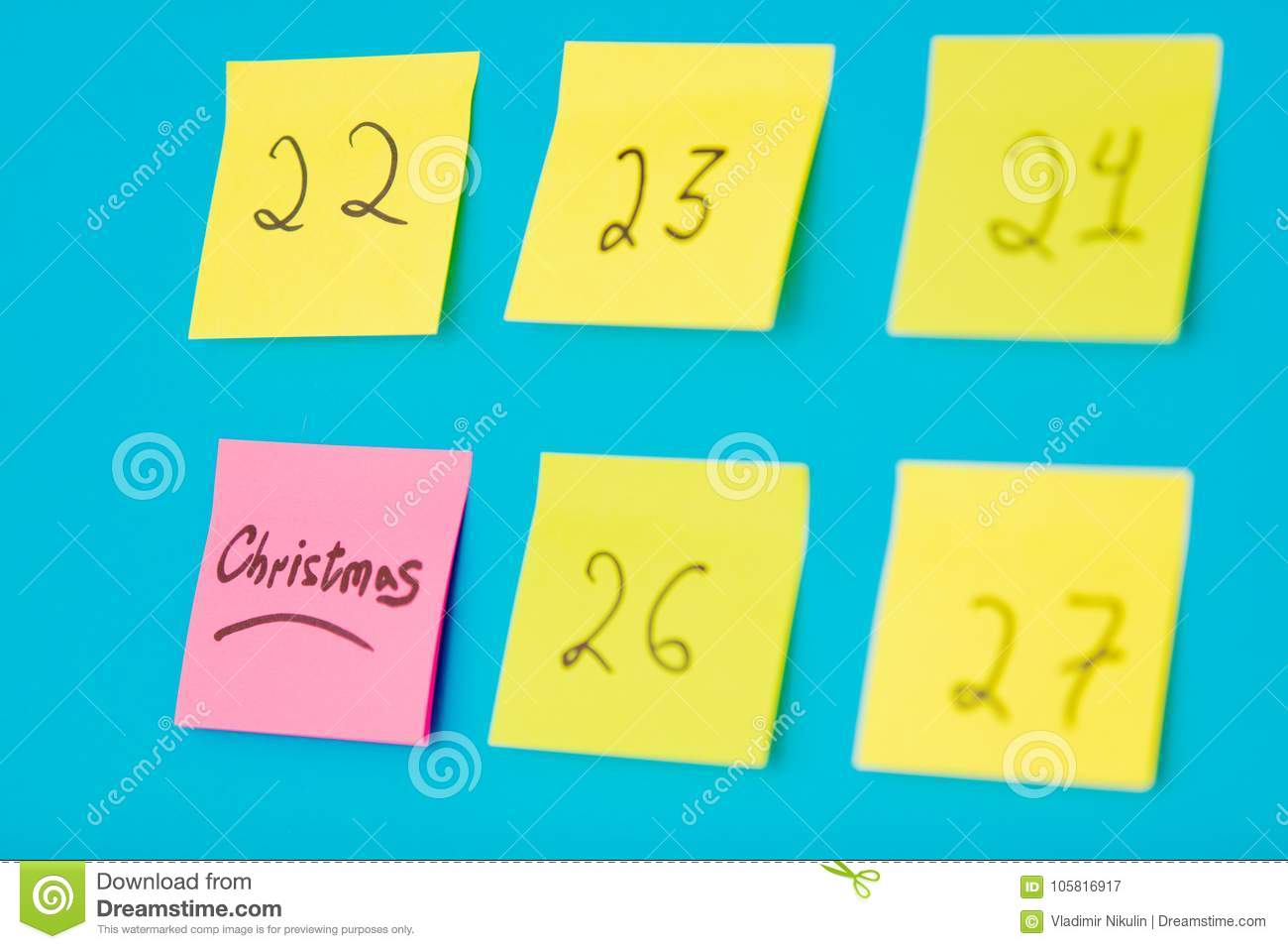 How Many Days Before Christmas.Color Stickers With Numbers Counting The Days Before