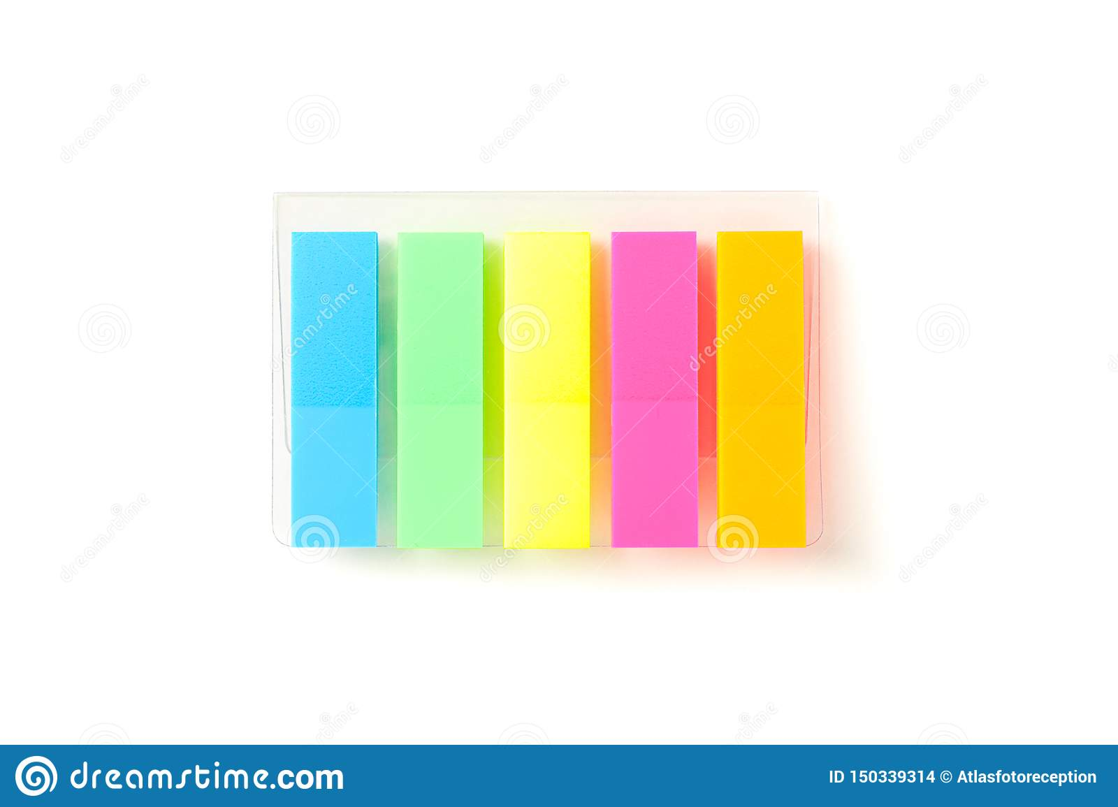 Color stickers in transparent packaging isolated