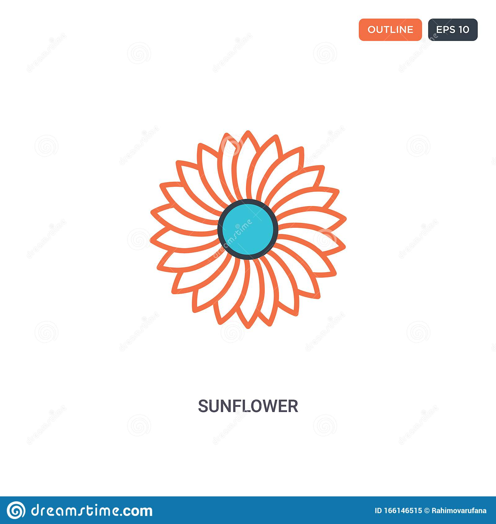 2 Color Sunflower Concept Line Vector Icon. Isolated Two ...