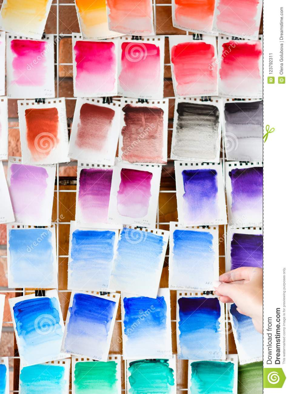 Color swatch paint palette ink draw art background