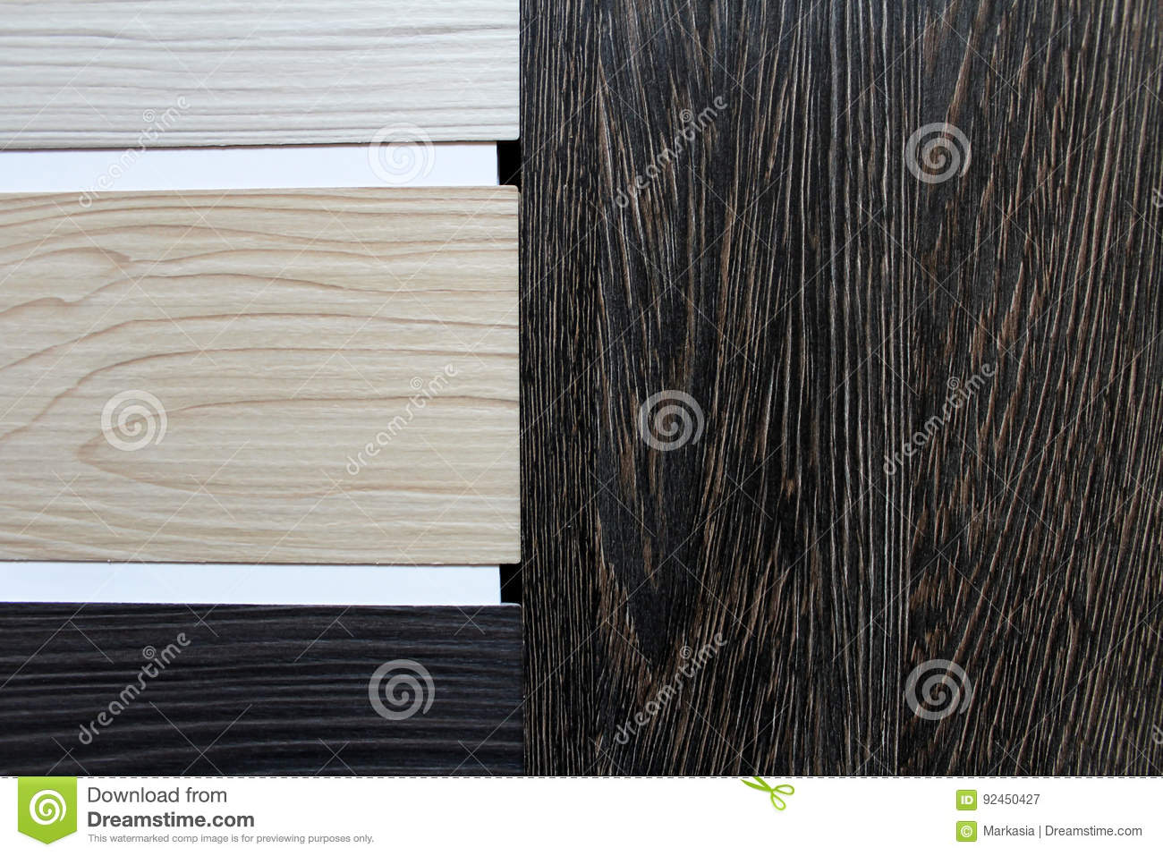 Color swatches of countertops