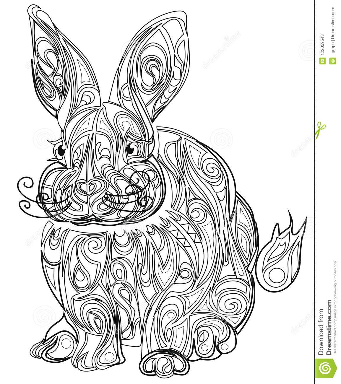 - Color Therapy: An Anti-Stress Coloring Book Hare. Stock Vector
