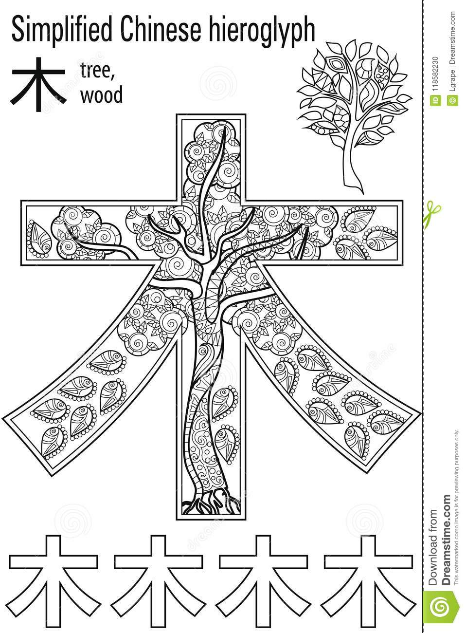 Color Therapy Anti Stress Coloring Book Hieroglyph Tree Learn Chinese