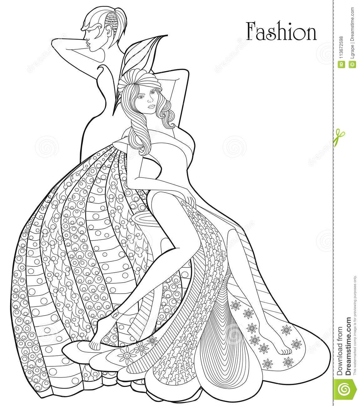 Download Color Therapy Fashion Anti Stress Coloring Book A Pair Of Girls
