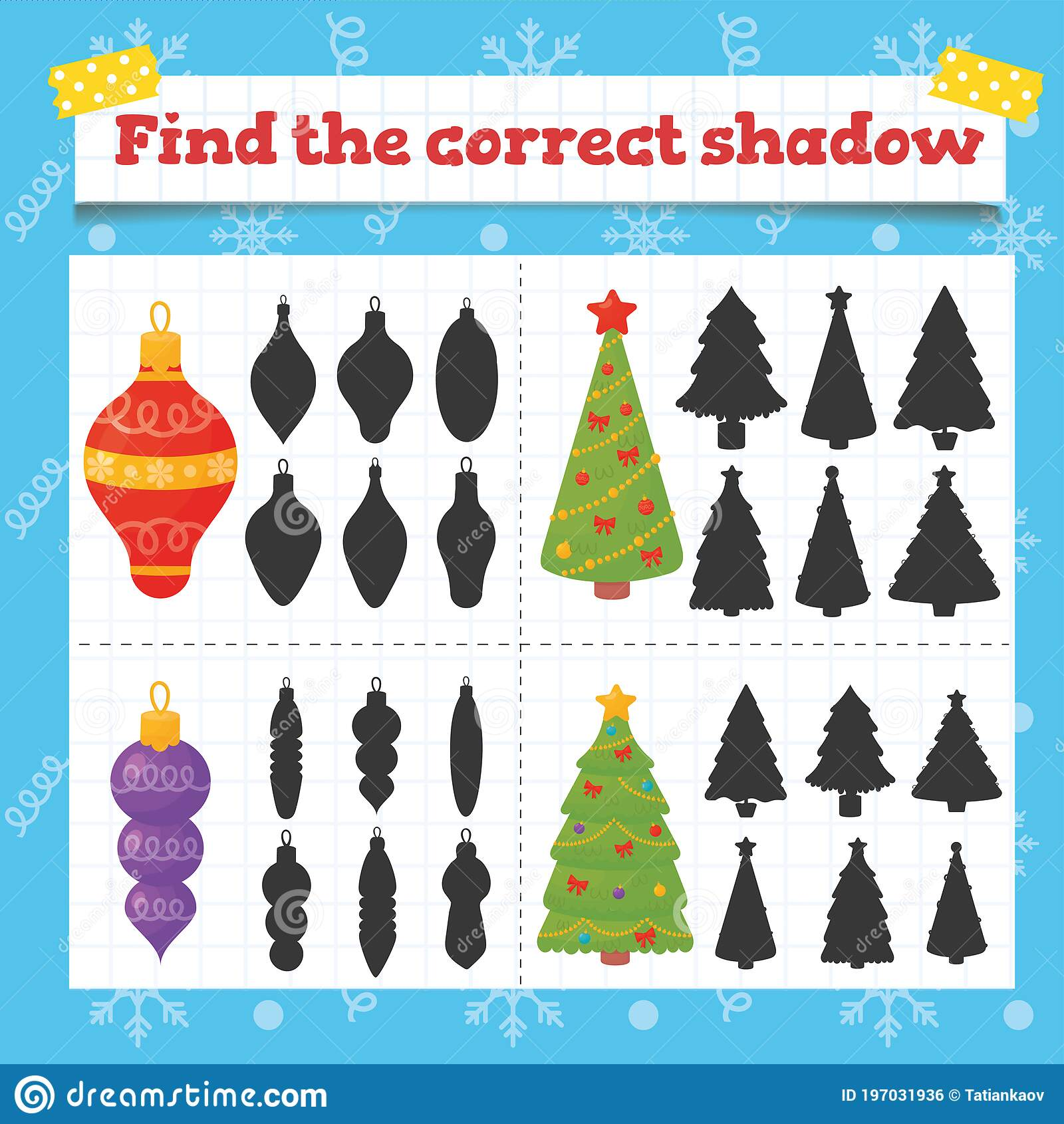 Color Toddler Education Games With Christmas Tree Decoration Preschool Or Kindergarten Christmas Worksheet Stock Vector Illustration Of Color Practice 197031936