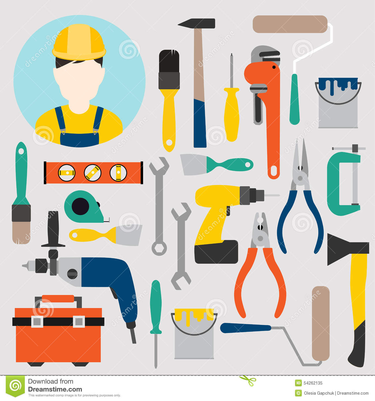 Color tools for repair and home improvement vector for House remodeling tools