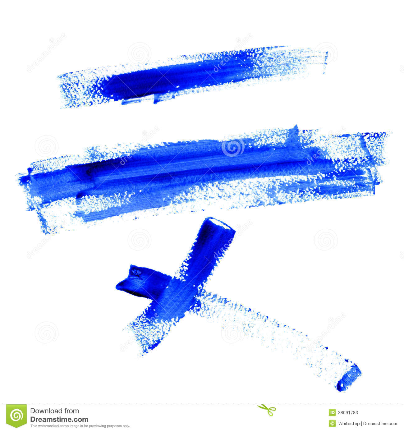 Blue Line Art Painting : Color traces line of blue paint isolated on white stock