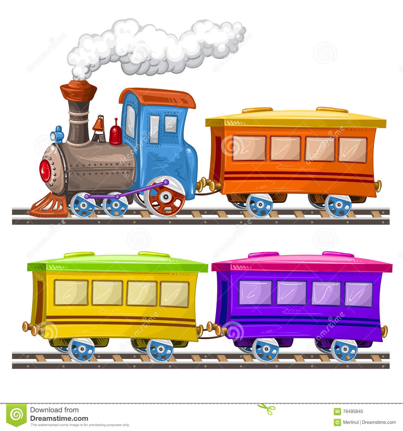 Color trains and wagons
