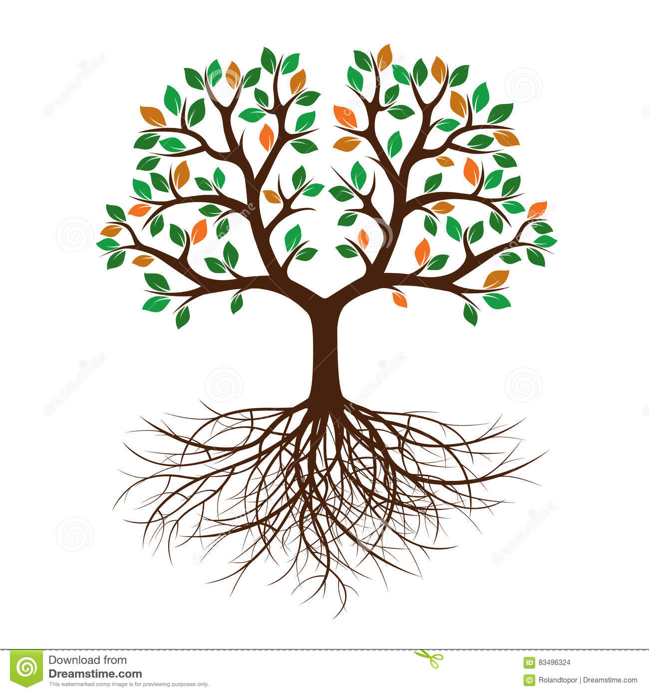 Color Tree And Roots. Vector Illustration. Stock