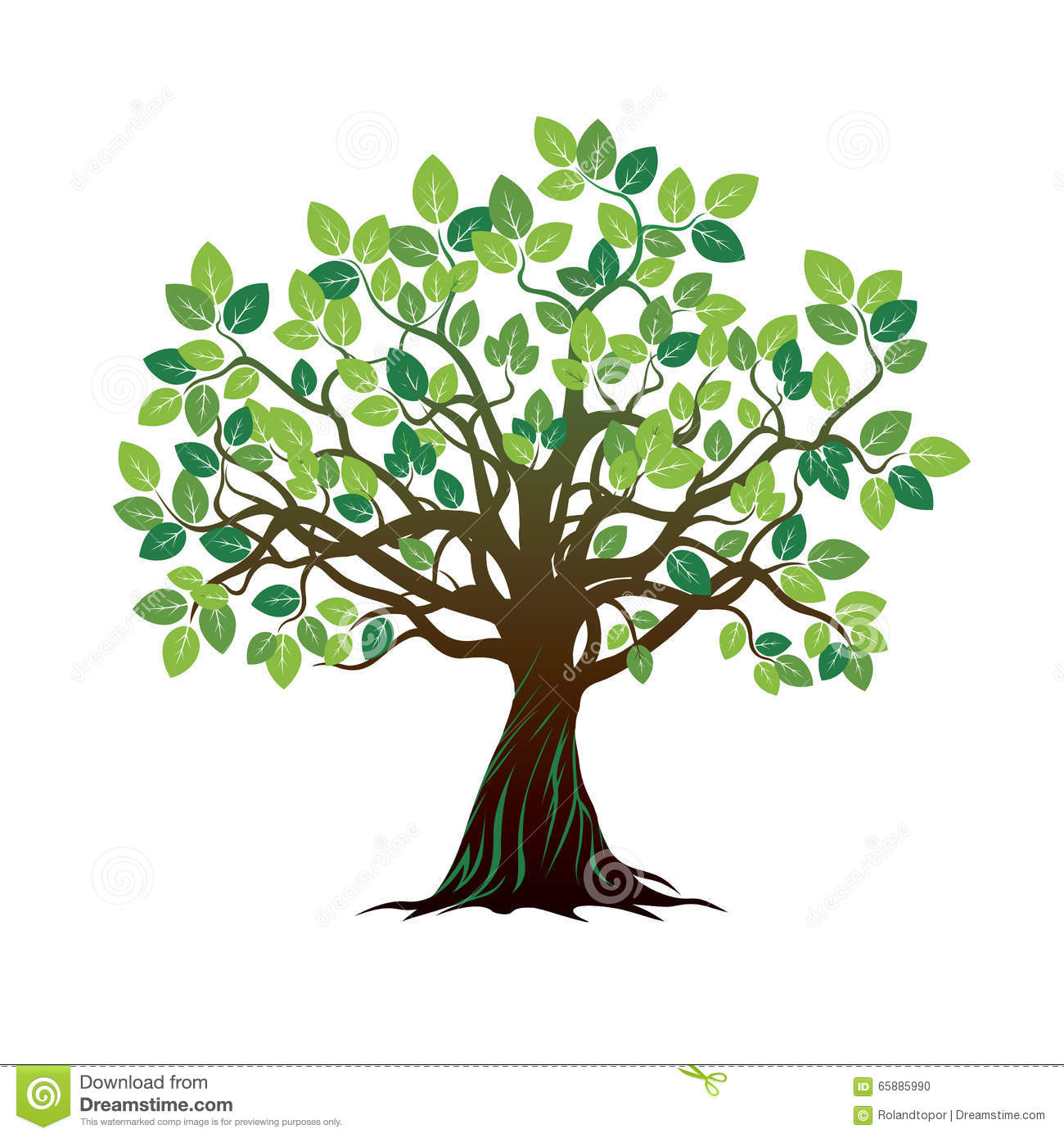 Color Tree And Roots. Vector Illustration. Stock Illustration ...