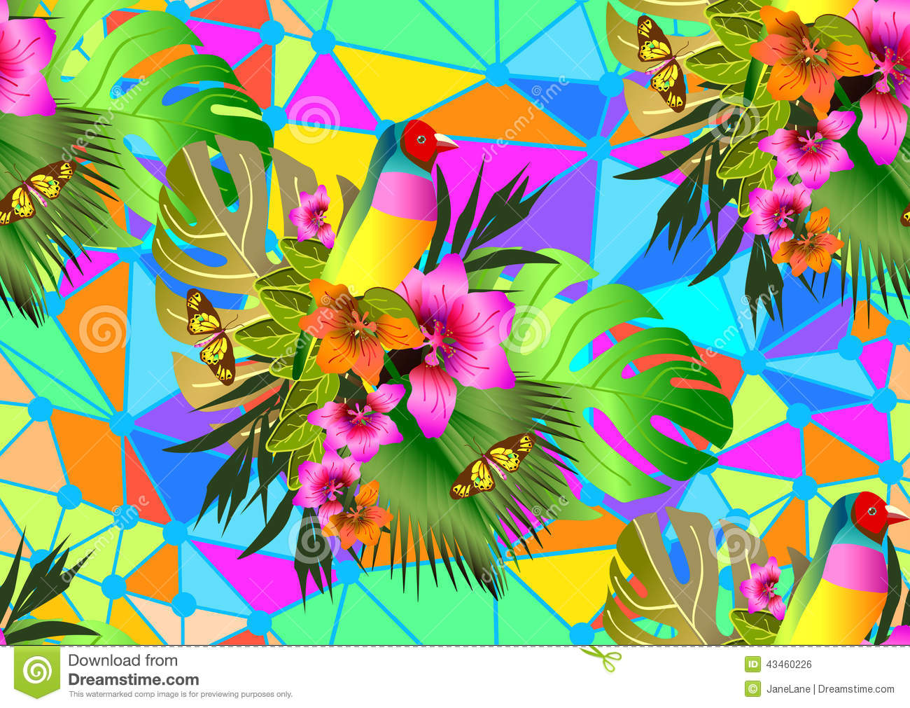 Color Tropical Flowers And Leaves Seamless Background ...
