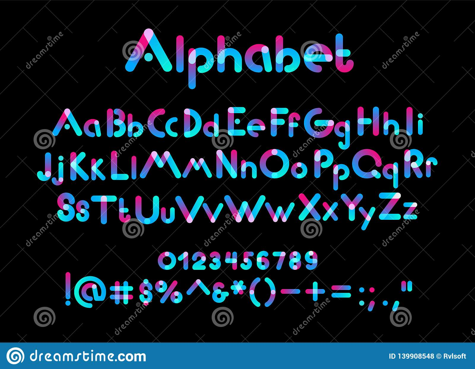 Color uppercase, lowercase letters and numbers on black background