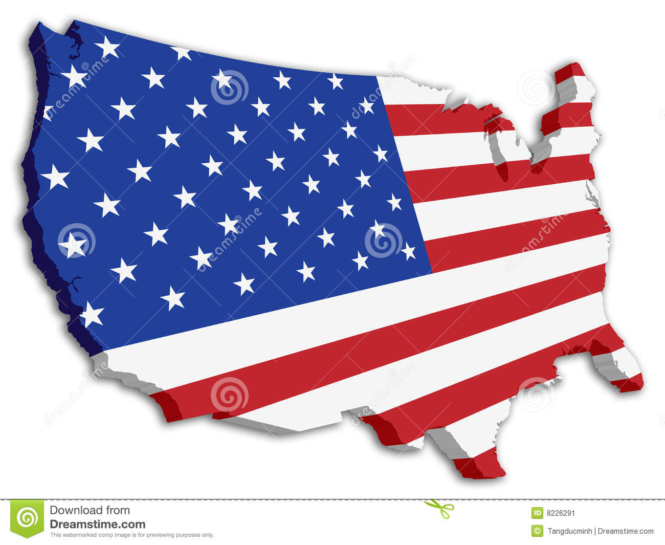 D USA Map With US Flag Stock Photos Image - Us map color