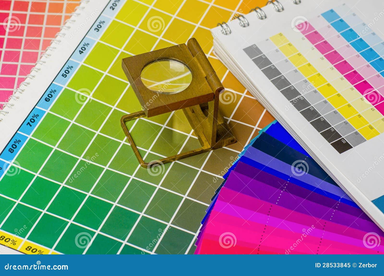 Color vägleder och färgar fläktar med linnetesteren