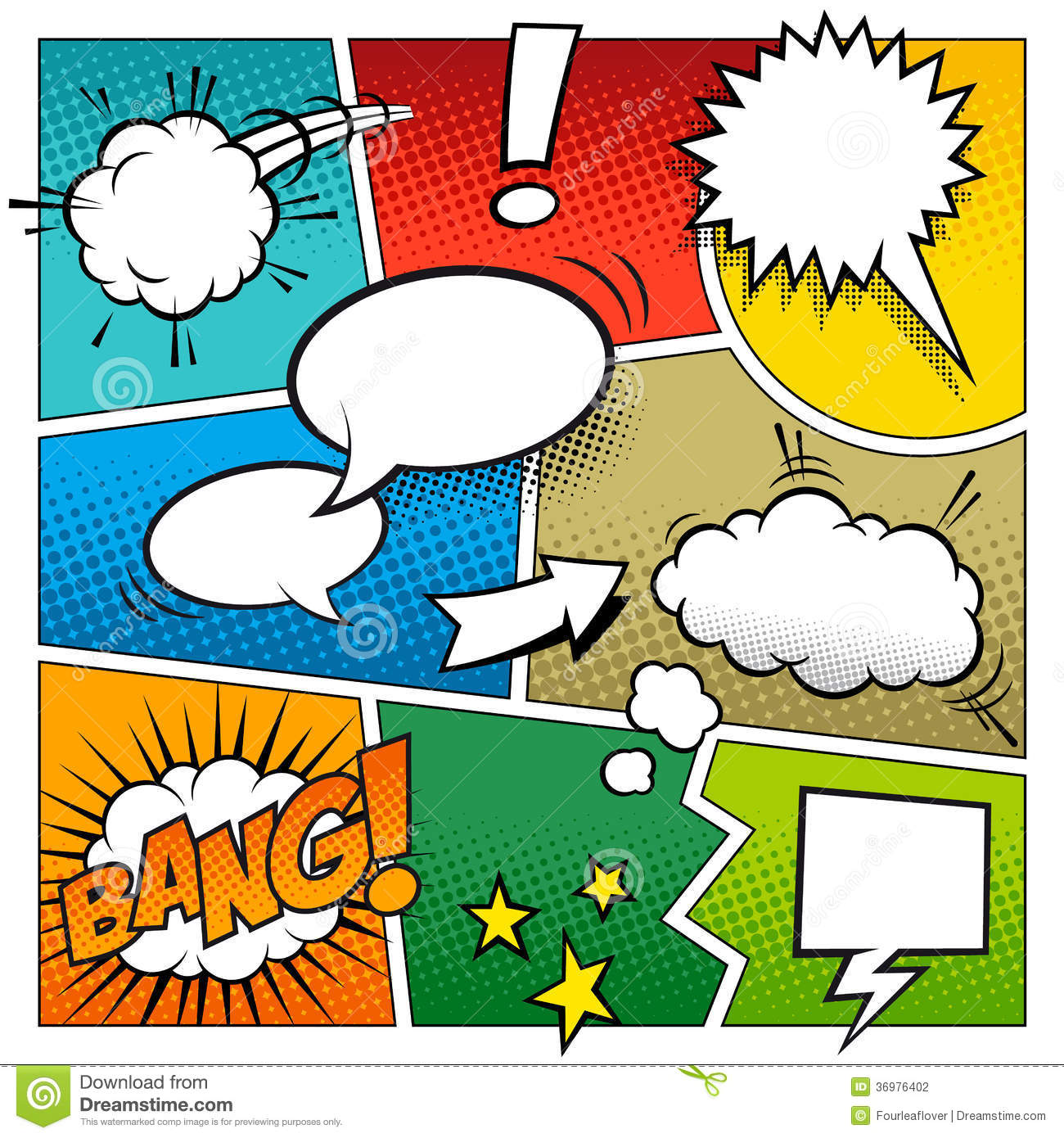Color Vector Comic Book Page Stock Vector - Illustration of book ...
