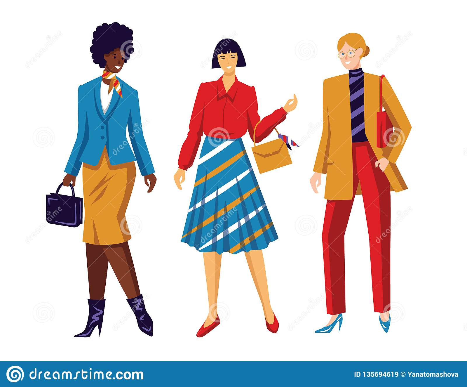 Color vector flat style illustration. Women`s team. Conceptual poster about female power and equal rights. Working girls of diffe