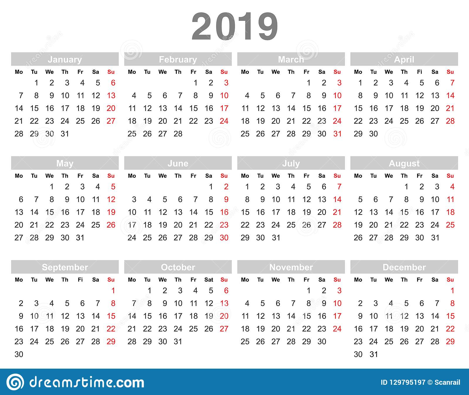 Annual Calendar 2019 2019 Year Annual Calendar Monday First, English Stock Vector