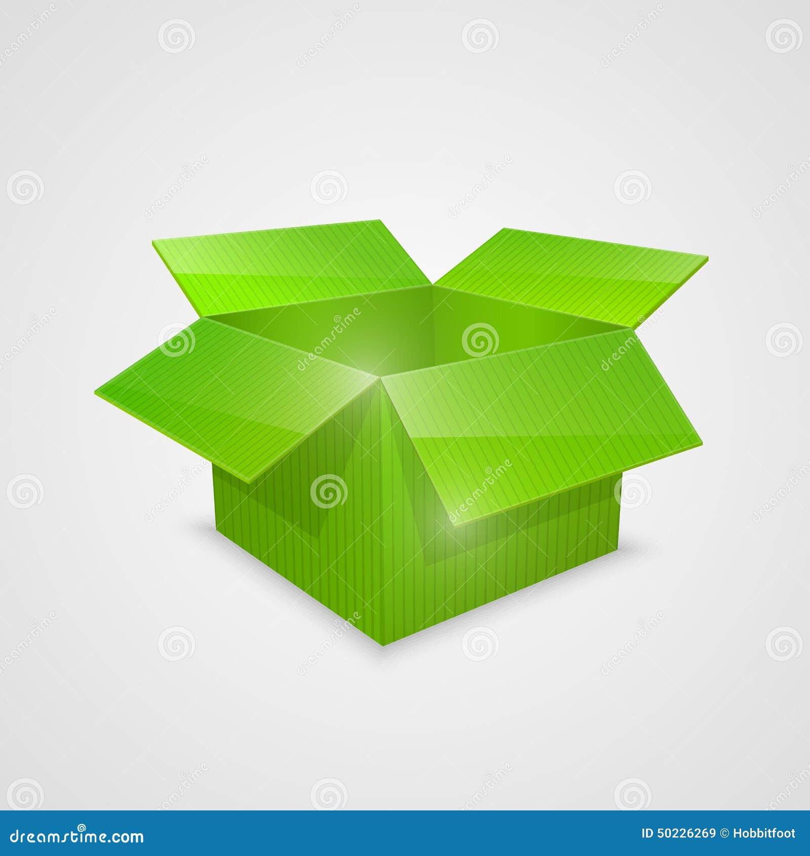 Color Vector Open Box. Green Stock Vector
