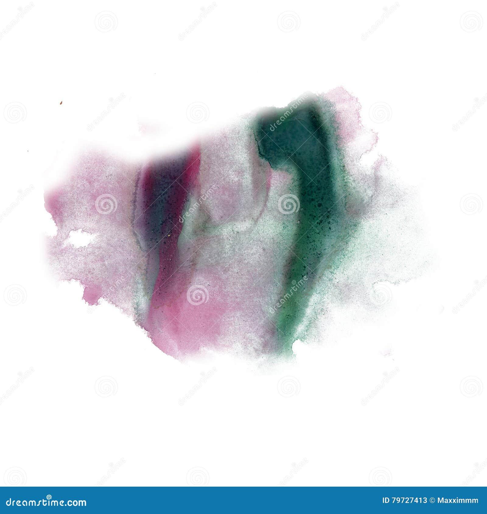 Color verde púrpura de la textura del movimiento de la pintura de los movimientos de la acuarela con el espacio para su propio ar