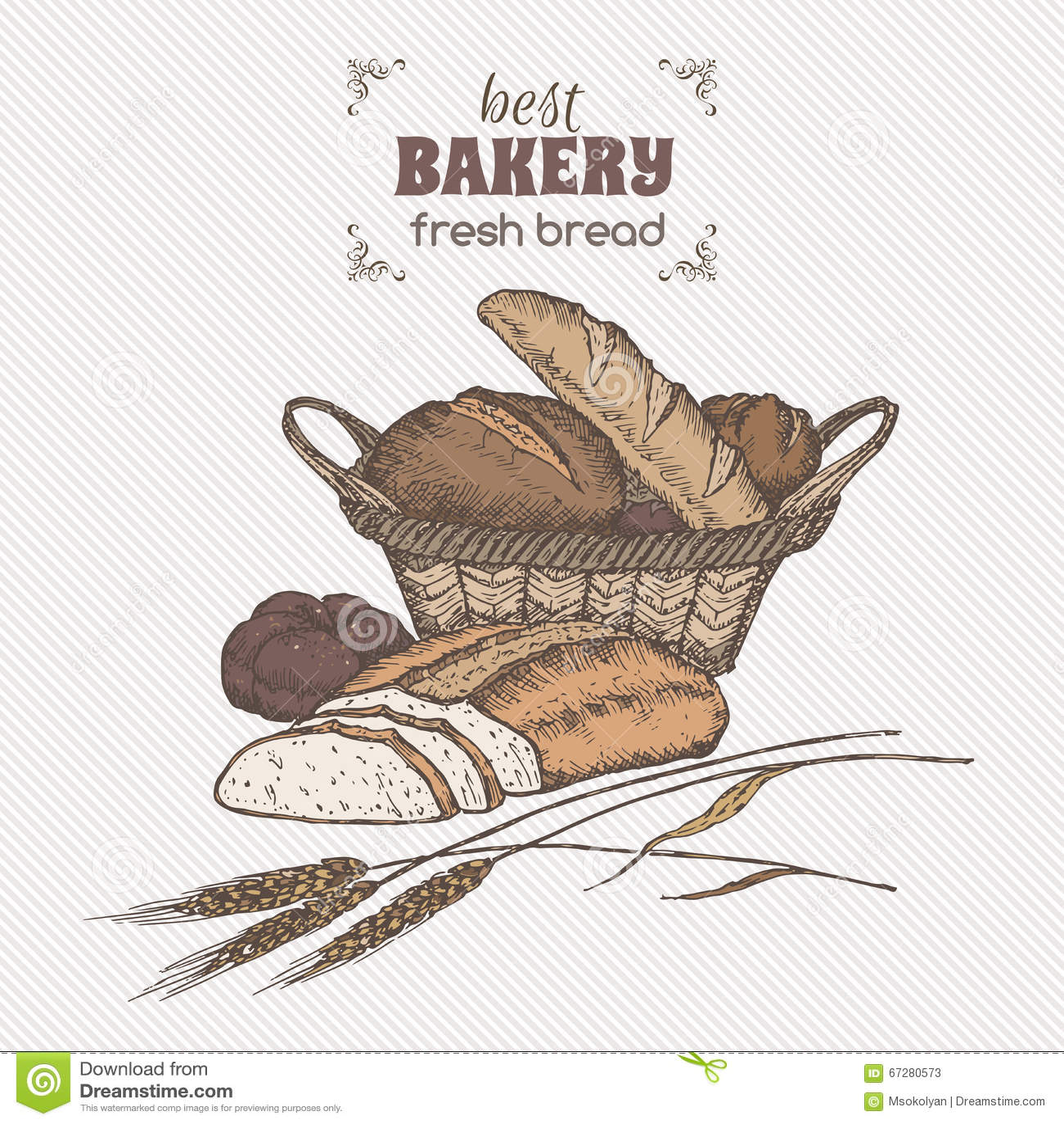 Color vintage bread basket template.