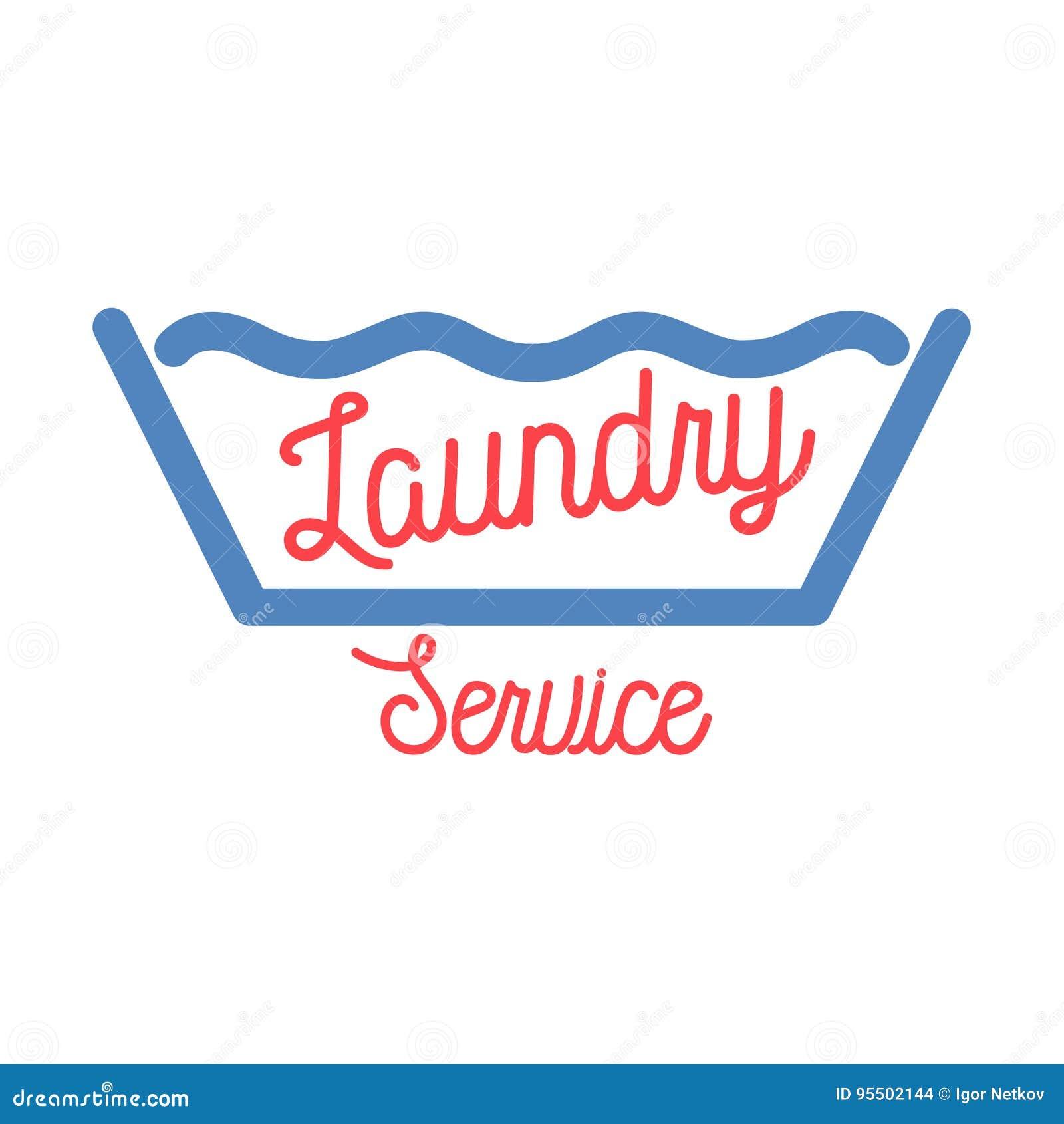 Laundry Business Vintage Label Cartoon Vector