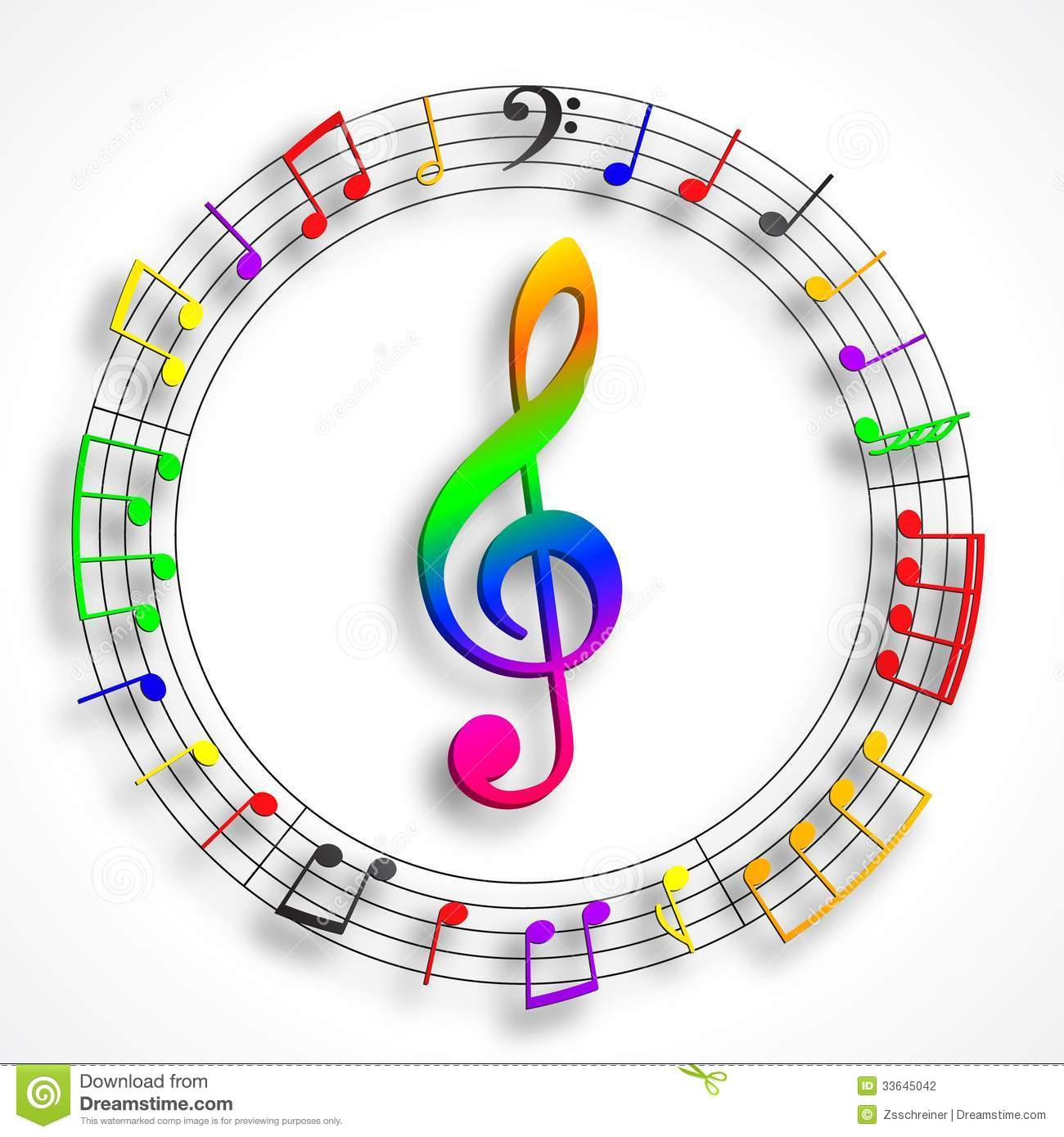 Color Violin Clef Stock Photography Image 33645042
