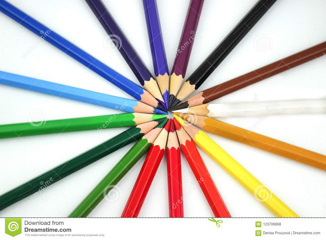 color wheel from a color spectrum of stationery crayons on white
