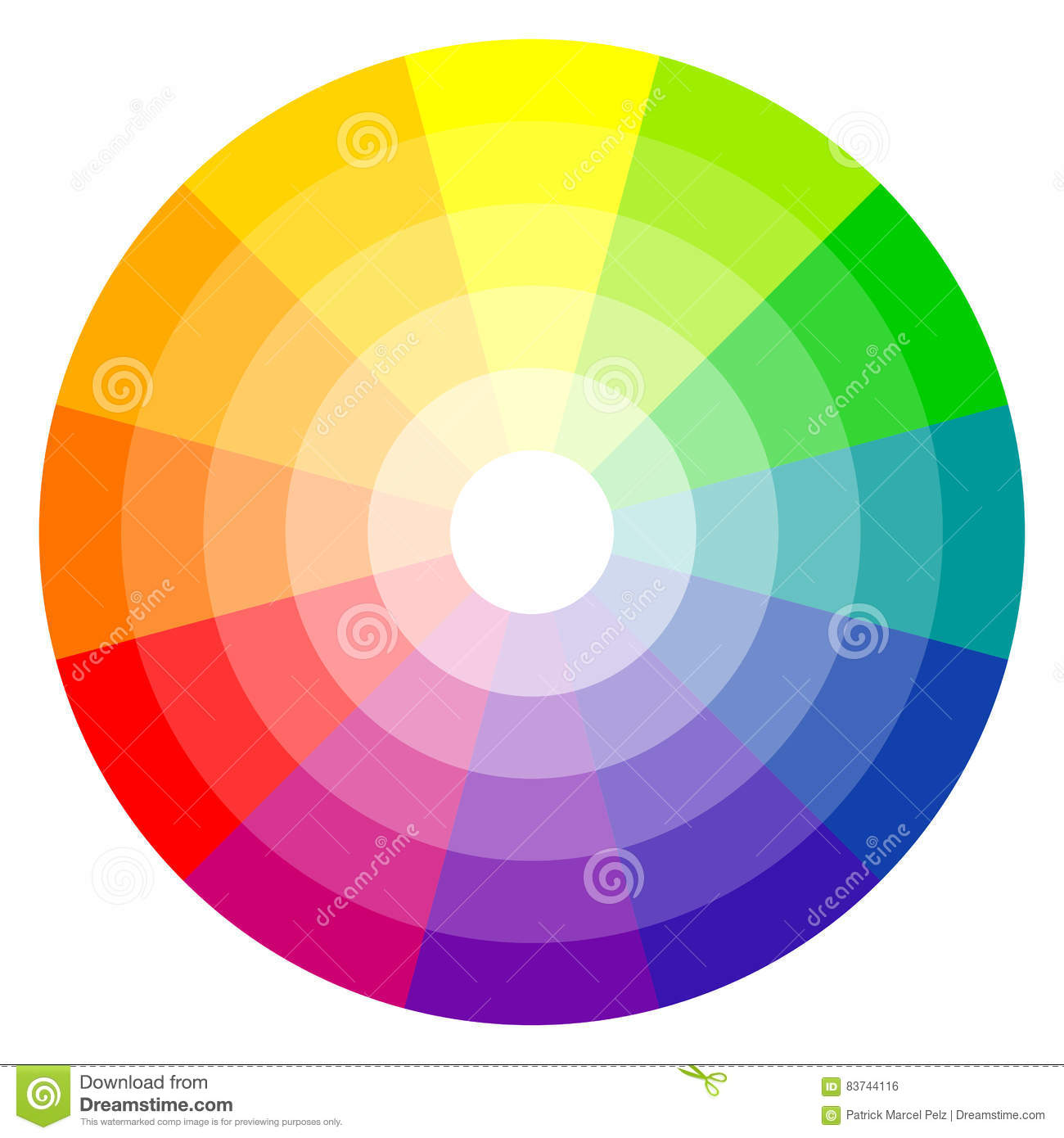 Color Wheel 12 Colors Stock Vector Illustration Of Green 83744116