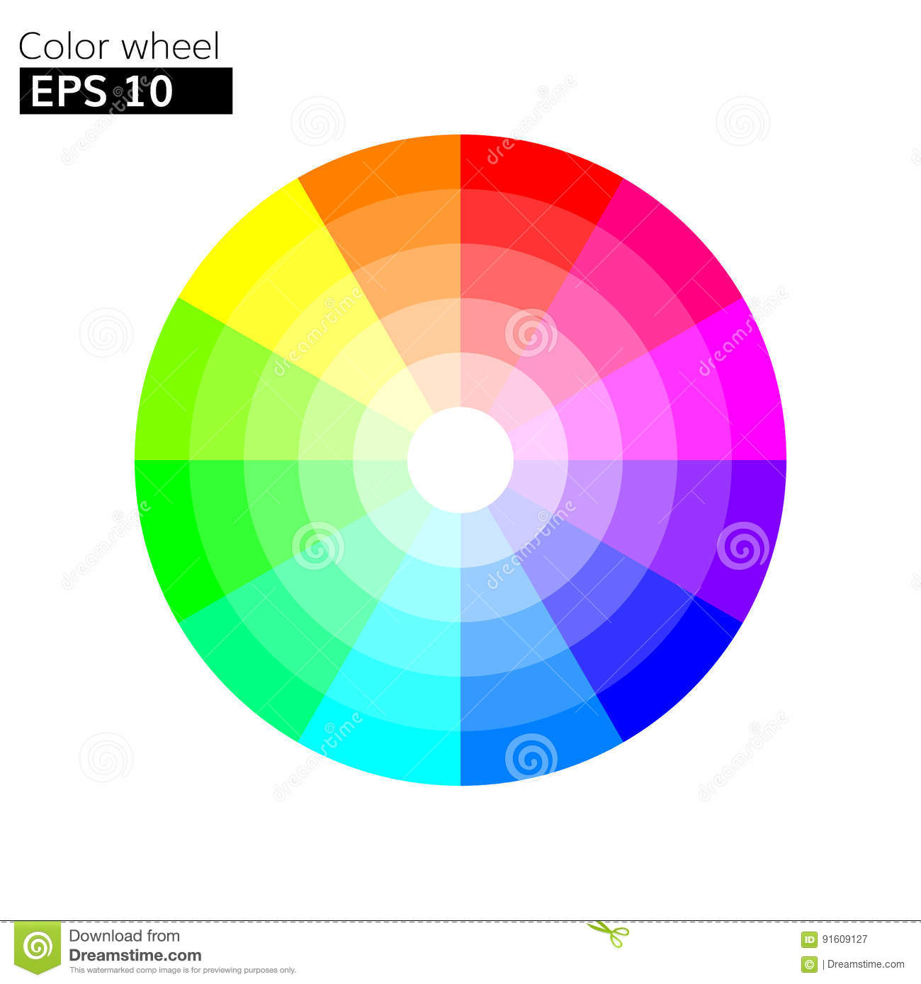 Color Wheel 12 Colors Vector With 20 Percent Step Stock Vector