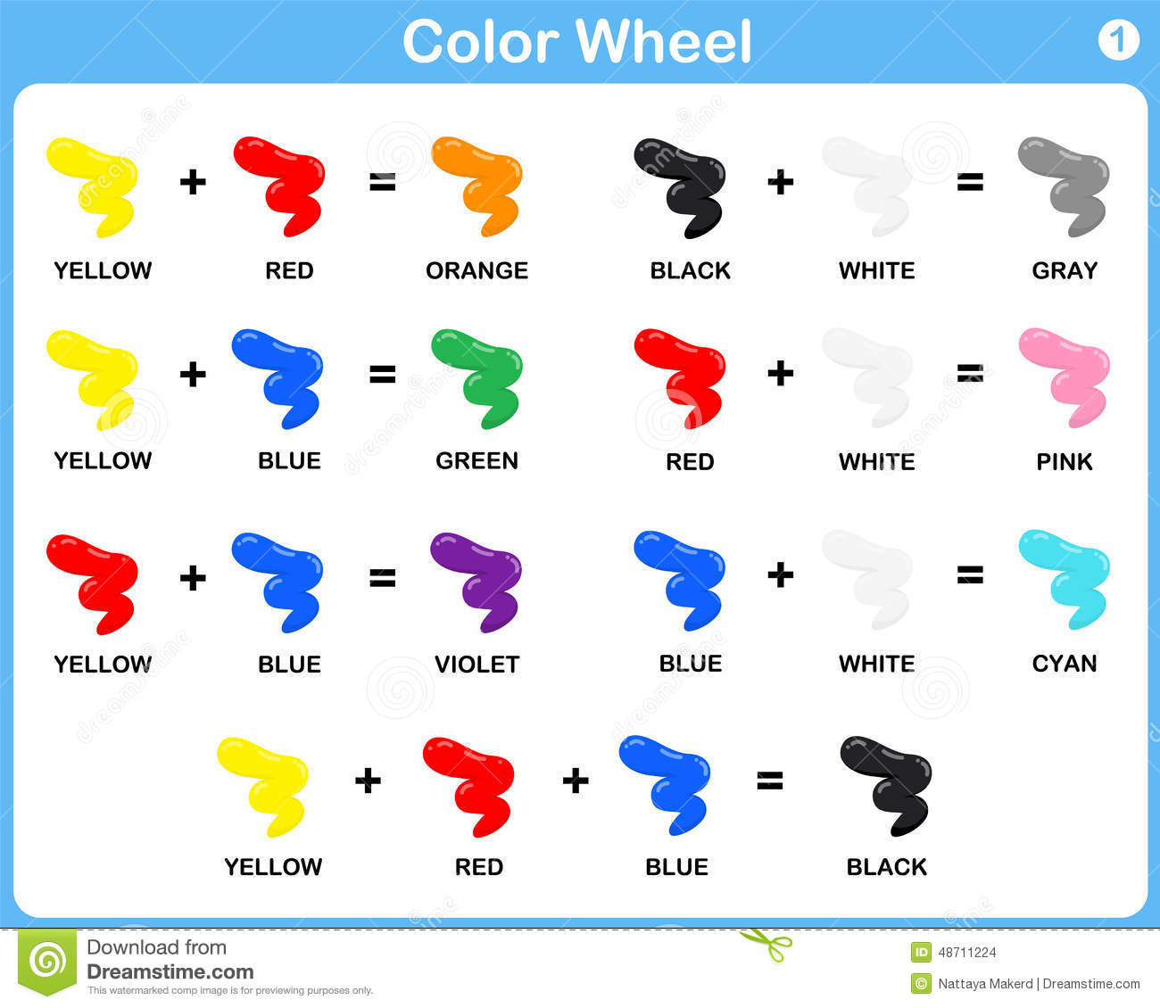 Color Wheel Worksheet For Kids Vector Image 48711224 – Color Worksheet for Kindergarten