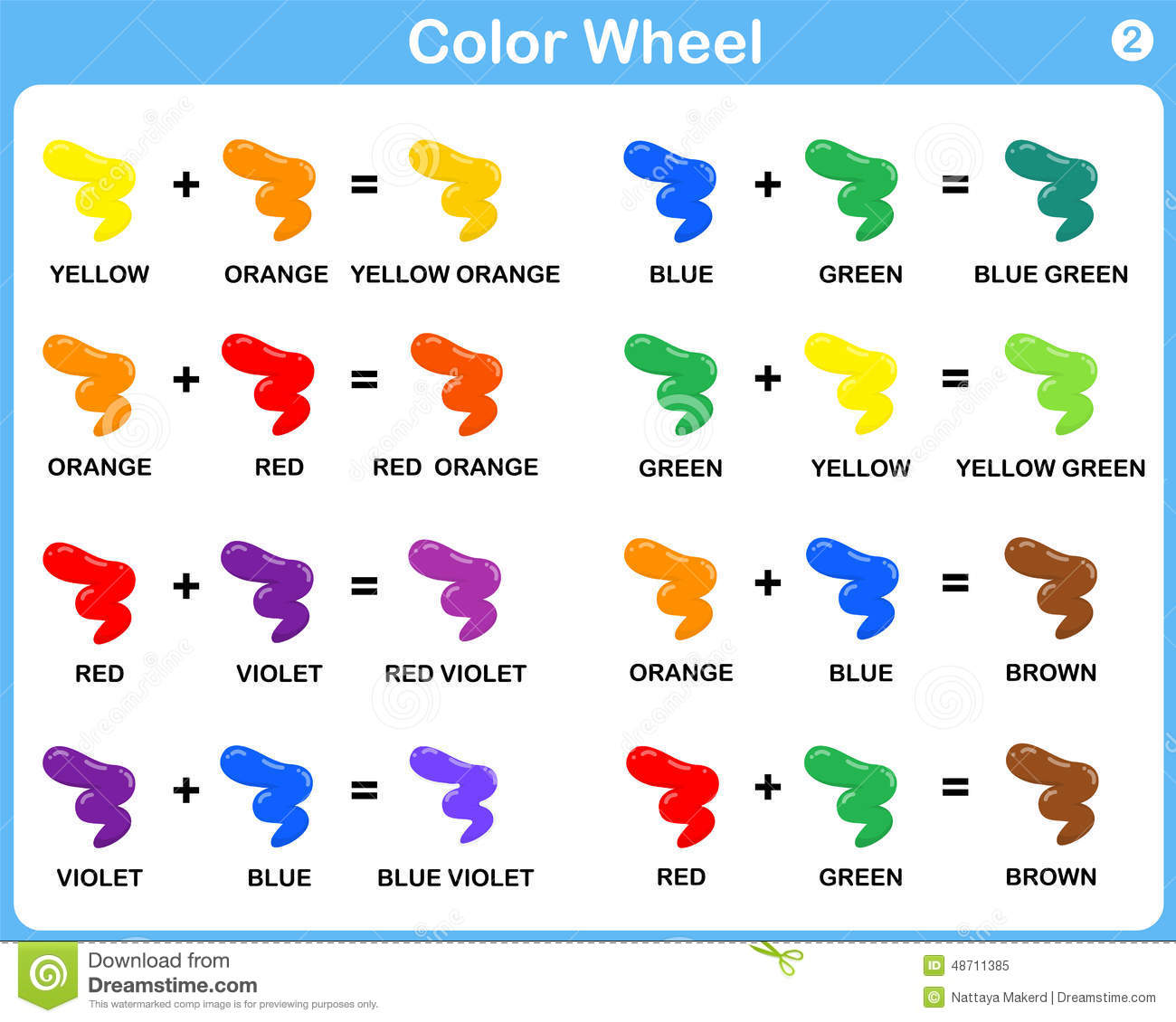 Color Wheel Worksheet - Red Blue Yellow Color : For Kids Stock ...