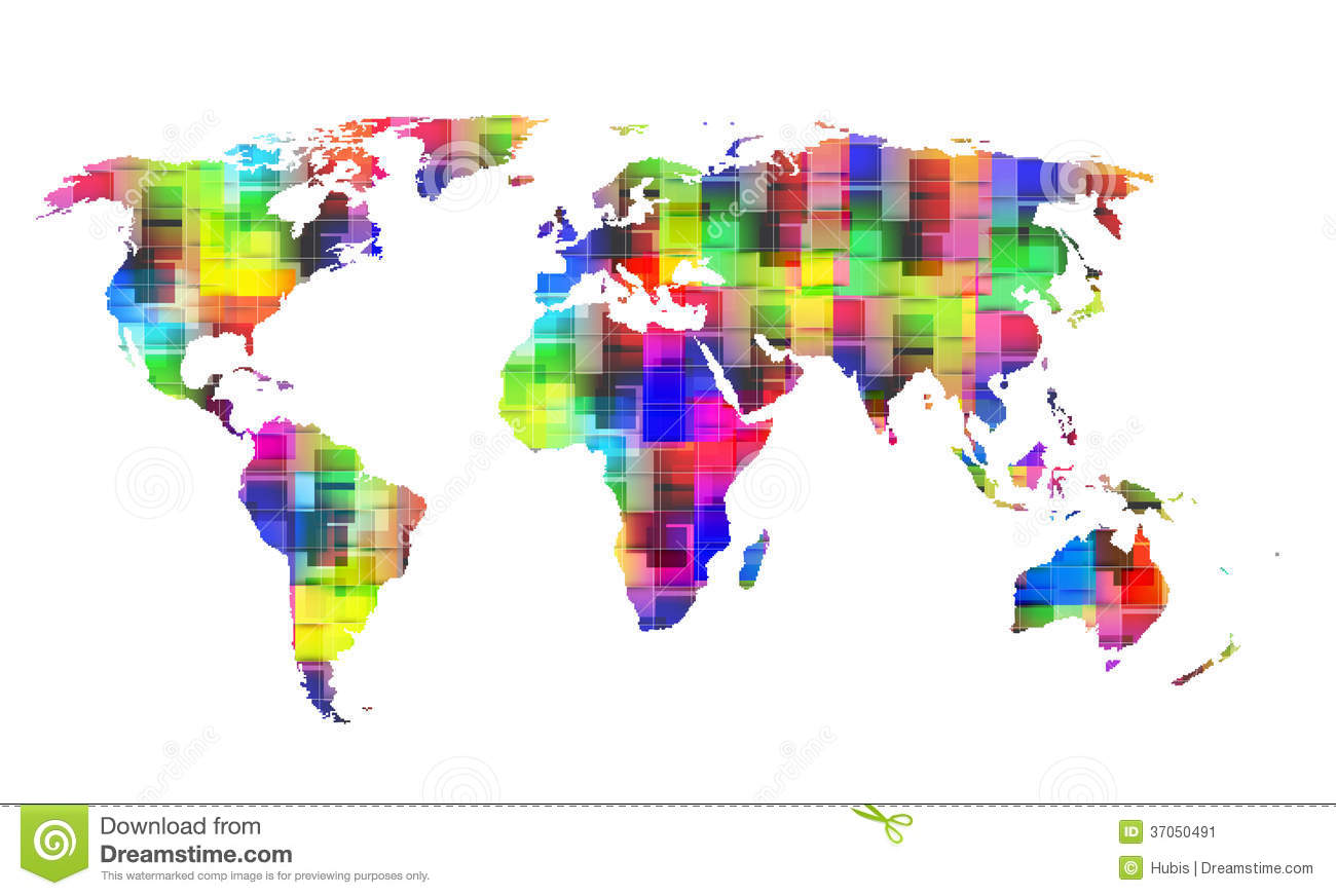 Color world map stock vector illustration of continent 37050491 color world map gumiabroncs Gallery