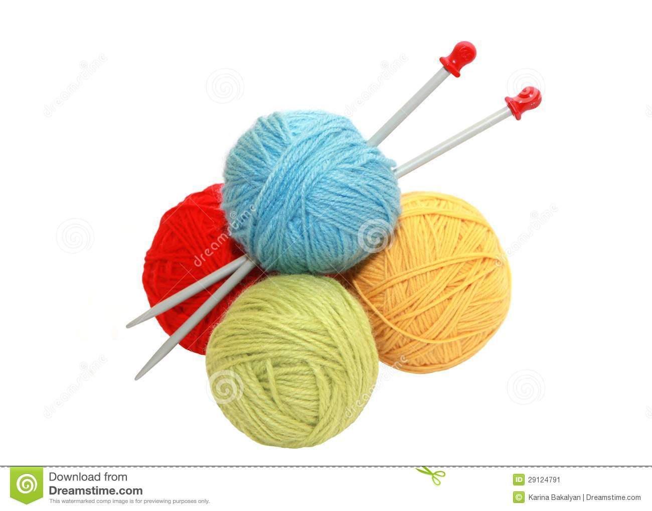 Knitting Wool And Needles : Color yarn balls and knitting needles stock image