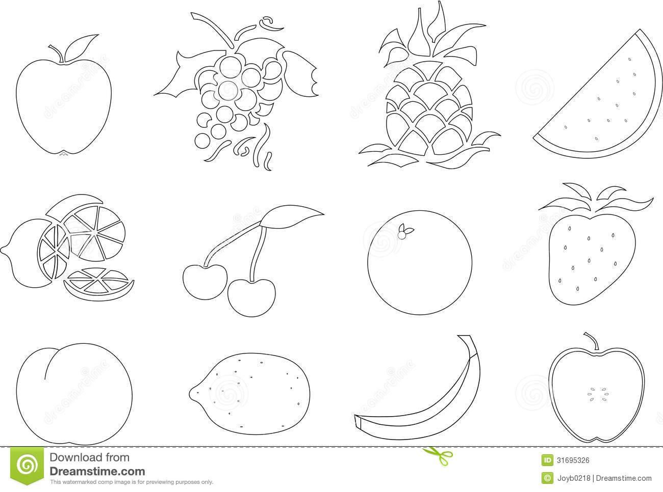 Color your own fruit stock illustration illustration of for Printable fruit coloring pages
