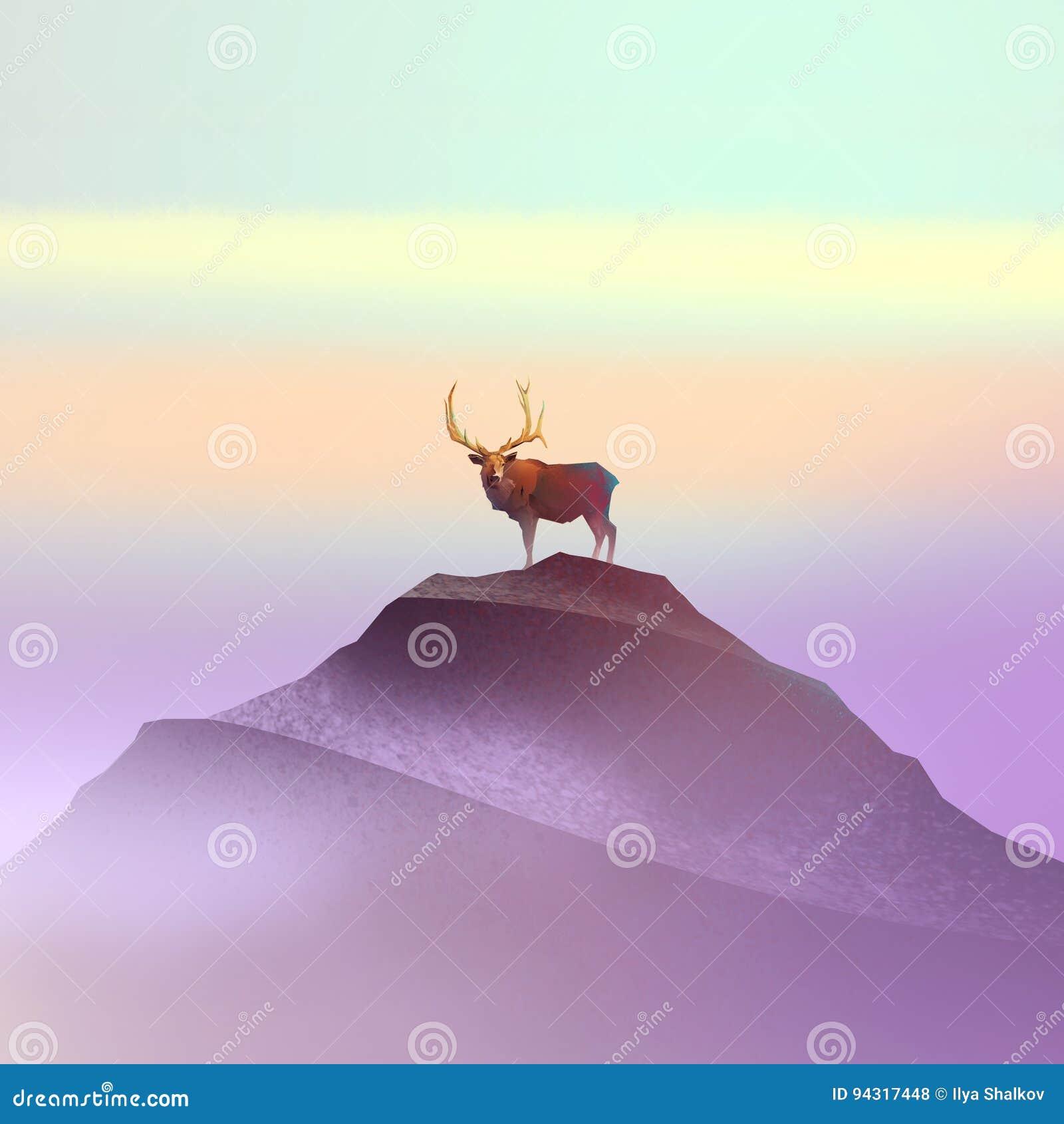 Colora o desenho de um cervo na montanha