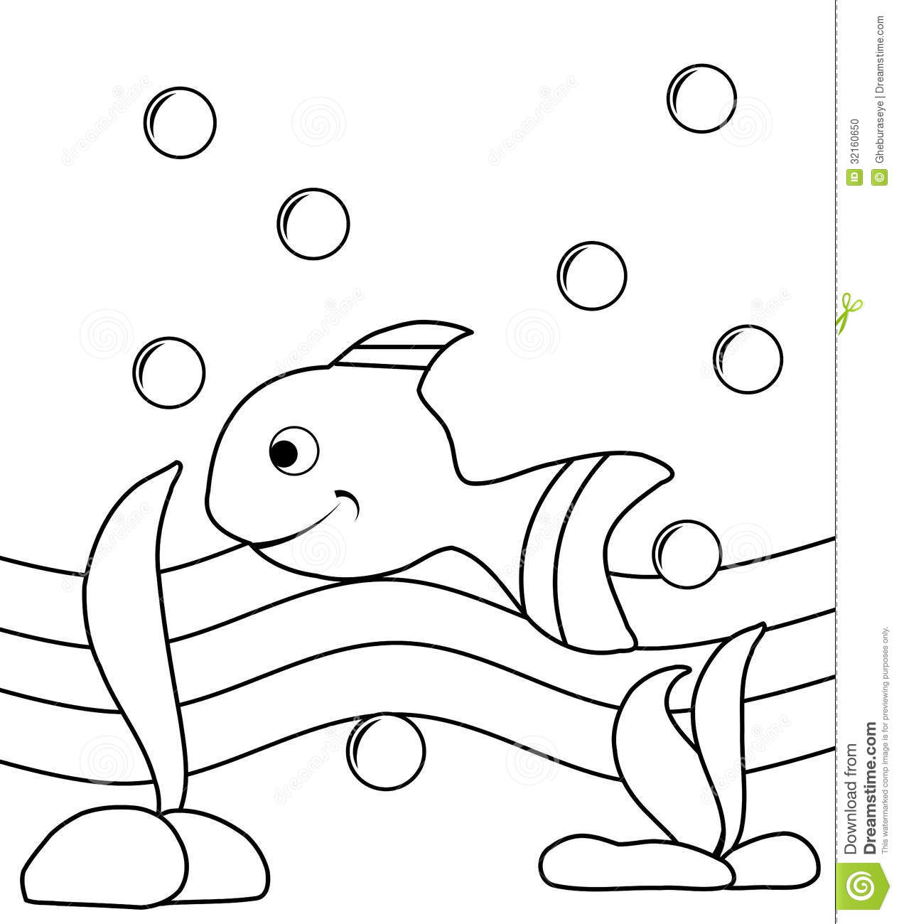 Colorable Fish Stock Photo Image 32160650