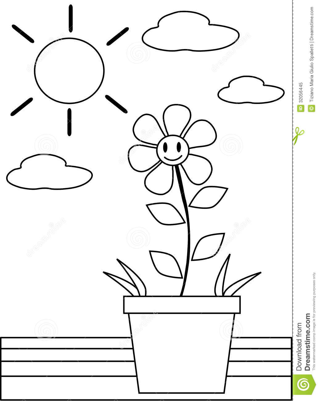 Colorable flower stock vector. Illustration of flora - 32056445
