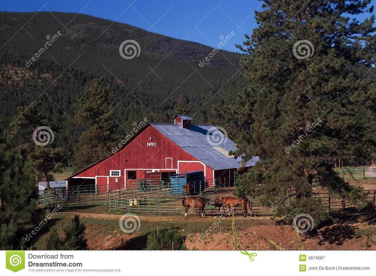 Colorado country red barn and horses royalty free stock for Ranch and rural living