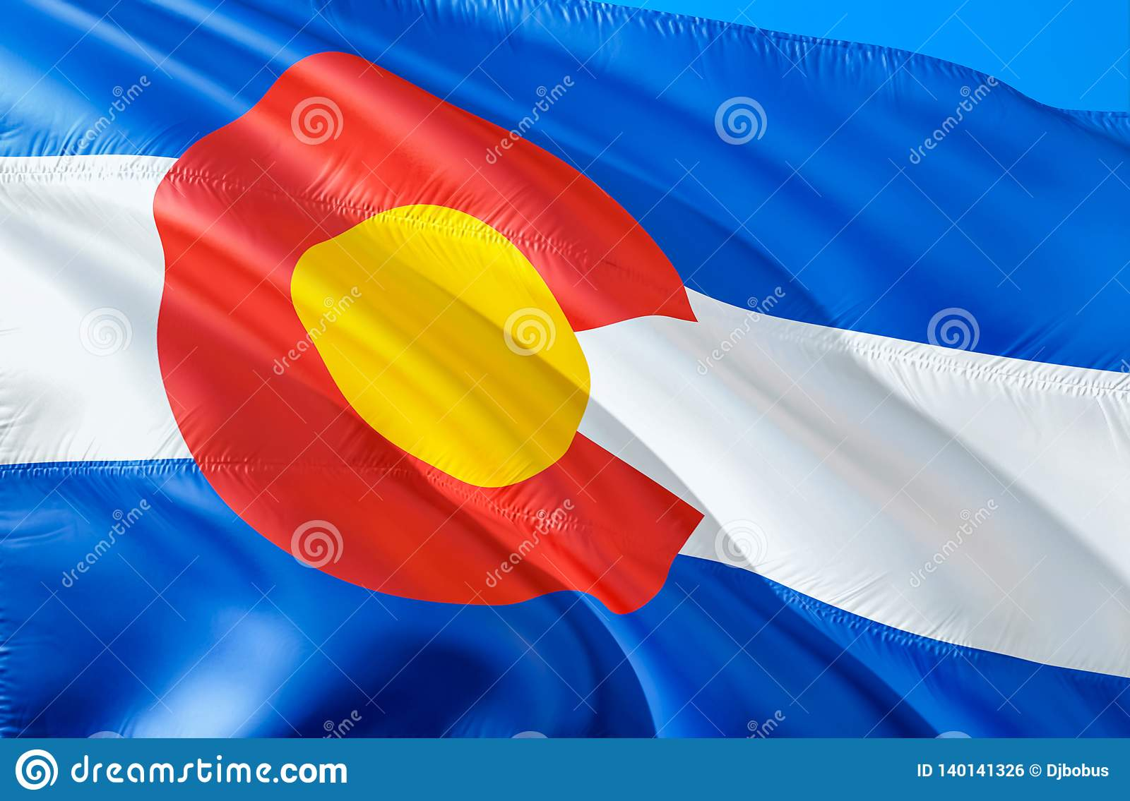 Colorado flag. 3D Waving USA state flag design. The national US symbol of Colorado state, 3D rendering. National colors and